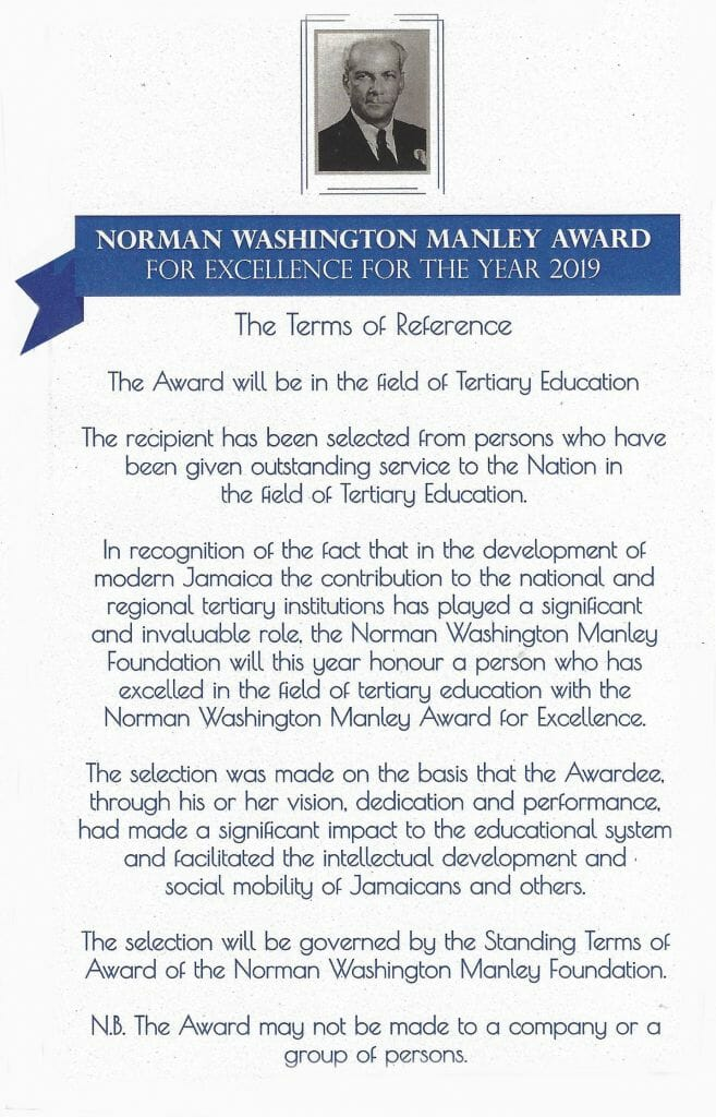 Citation for Norman Washington Manley award for excellence for the year 2019. presented to Errol Miller.